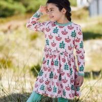 Flatter Kleid langarm elastisch mit Vogelbeeren