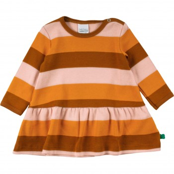 Flatterkleid im Block-Design in orange-braun-rosa