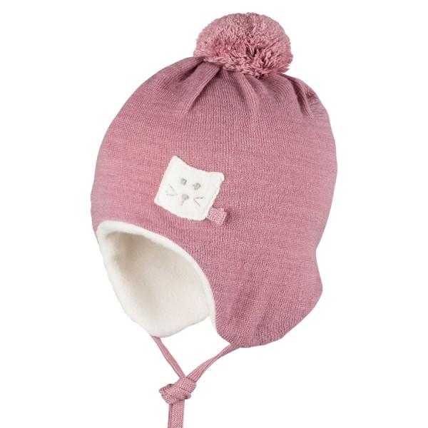 Warme Bio Baby Wintermütze mit Bommel - beere