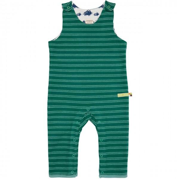 Babystrampler ohne Arm in grün gestreift