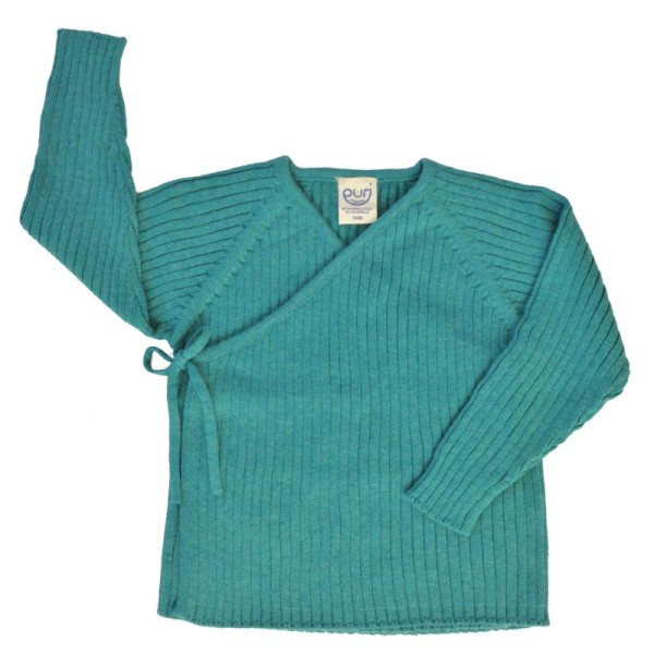 Wolle Biobaumwolle Strick Babyjacke - neutral mint petrol