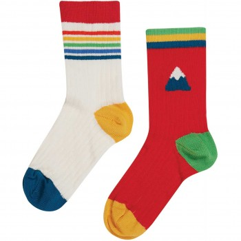 Doppelpack Kinder Socken rot weiß