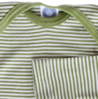 Vorschau: Wolle Seide atmungsaktives Langarmshirt grüner Ringel