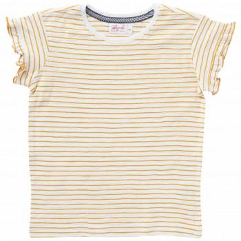 Mädchen T-Shirt Rüschen Ringel senfgelb