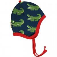 Babymütze leicht mit Ohrenschutz Krokodil