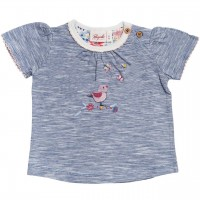 Slub T-Shirt Vögelchen in jeansblau mélange