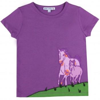 Shirt kurzarm lila Pferde-Aufnäher
