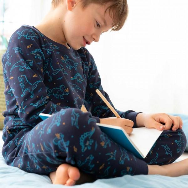 Langarm Schlafanzug Dinosaurier dunkelblau