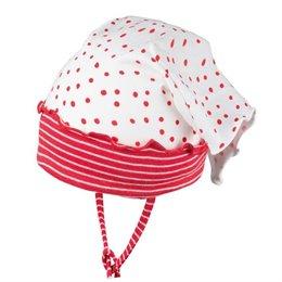 Baby Kopftuch mit elastischem Stirnband rote Punkte