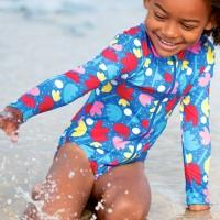 Mädchen Bade- Strandanzug langarm Lotus Blumen