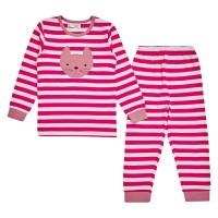 Warmer Schlafanzug Katzen Aufnäher pink