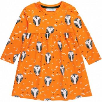 Babykleid  in  Schneeeulen  in  orange