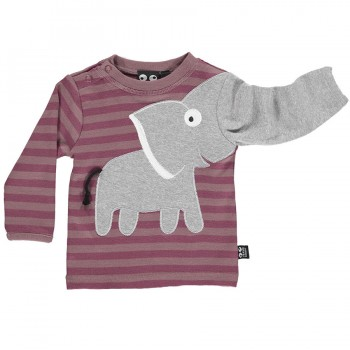 Elefanten Shirt im kräftiges altrosa gestreift