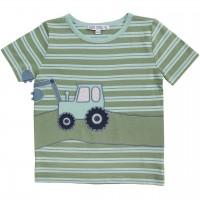 Edles T-Shirt Traktor Aufnäher Streifen in oliv-grün