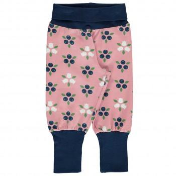 Krabbel- und Spielhose Blaubeeren Bündchen rosa