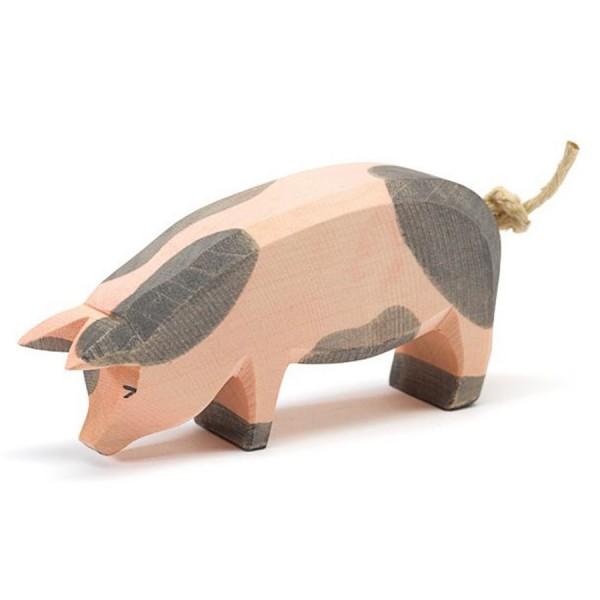 Schwein gefleckt Holzfigur - Kopf tief 6 cm hoch