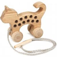 Holz Fädelspiel Katze – ab 3 Jahren