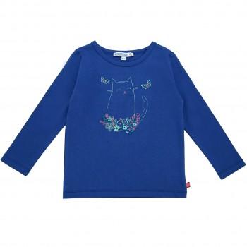 Langarmshirt mit Katze Stickerei royal-blau
