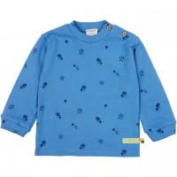 Strukturiertes Shirt Waldmotive blau