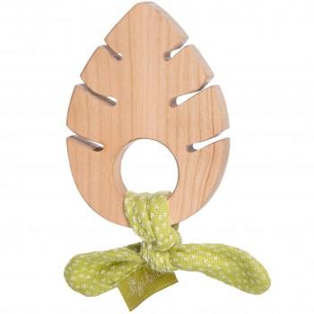 Holzgreifling Blatt mit Bio Baumwollband