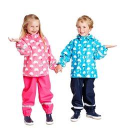 Regenbekleidung für Kinder Hose und Jacke + Tasche - robust und  leicht - rosa