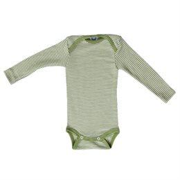 Atmungsaktiver Body Wolle Seide grün gestreift