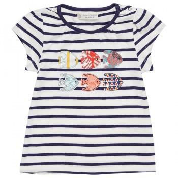 T-Shirt Mädchen navy gestreift Fische