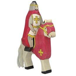 Holztiger Ritter reitend mit Pferd rot