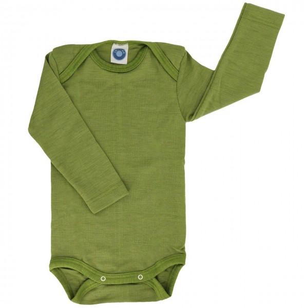 Wolle Seide atmungsaktiver Body Wolle Seide grün