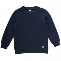 Basic Pullover geriffelt in dunkelblau