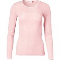 Damen Wolle Seide Langarmshirt rosa meliert