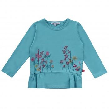 Edle Tunika Blumen Stickerei blau