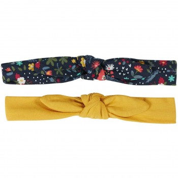 Haarband Doppelpack Blumen Druck senf