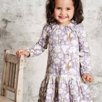 Kleid Mädchen langarm Blumen in lavendel