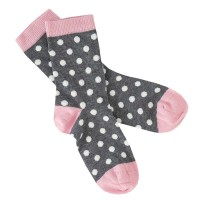 Socken Punkte rosa grau Feinstrick