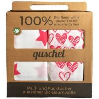 Vorschau: Bio Pucktuch XL 2er Pack Sterne & Herzen pink