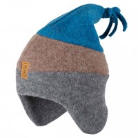 Wintermütze Kinder Fleece warm grau-braun-blau
