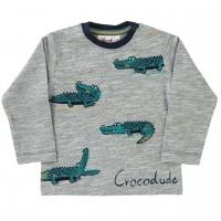 Slub Langarmshirt Krokodile in grau melange