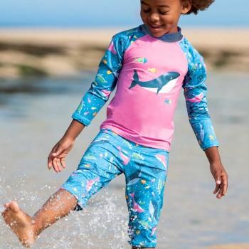 Badeanzug Shirt mit Bermuda Wal pink