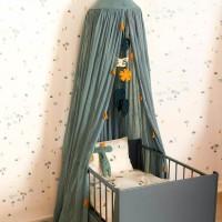 Baldachin für Kinder – Babybett Himmel - graugrün