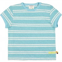 Leichtes Leinen Shirt kurzarm Streifen türkis