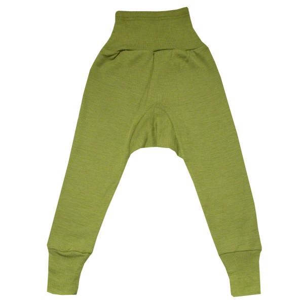 Wolle Seide Hose Bündchen grün