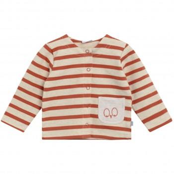Leichte Jacke mit Knöpfen Streifen in rost-orange