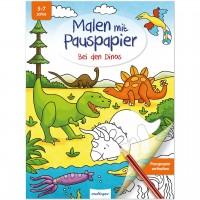 Malbuch mit Pauspapier für Kinder ab 5 Jahre – Dinos