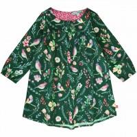 Flanellkleid langarm Blumen grün-pink