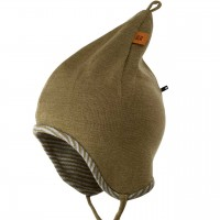 Wolle Seide Zipfelmütze doppellagig atmungsaktiv moos-grün