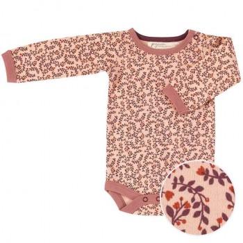 Body langarm Blätter Print rosa