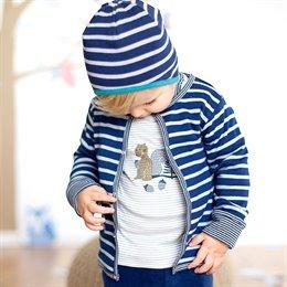 Vielseitige Baby Jacke zum Wenden blau grau