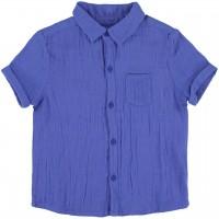 Blaues Musselin kurzarm Hemd