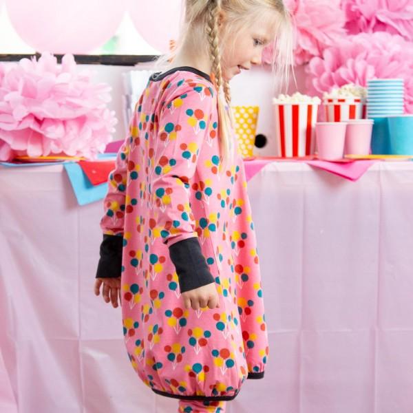 Ballon Kleid langarm elastisch rosa Ballons